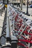 Bikes In A Row, Barcelona Royalty Free Stock Photos