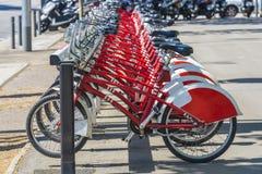Bikes In A Row, Barcelona Stock Photos
