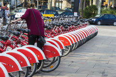 Bikes In A Row, Barcelona Stock Image
