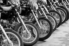 Bikes in a row - cop motorcycle lineup at protest Royalty Free Stock Photos