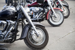 Bikes in a row. On motor show royalty free stock photography