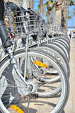 Bikes. Row of parked bikes in Valencia city near the beach royalty free stock images