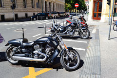 Bikes in a row  in Zagreb  city center Royalty Free Stock Photo
