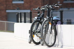 Bikes. Secured on fences Royalty Free Stock Photos
