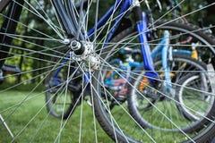 Bikes seen through spokes Royalty Free Stock Photo