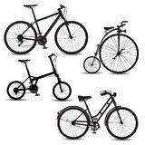 Bikes. Set of bikes silhouettes. Vector illustration Stock Images