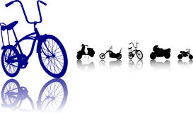 Bikes silhouette set. An illustration of bikes and bicycles and motorcycles silhouettes vector illustration