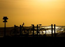 Bikes Silhouette at Sunset stock photo
