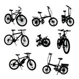 Bikes silhouettes collection with clipping path royalty free stock photo