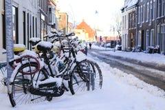 Bikes in the snow royalty free stock photos