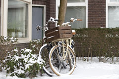 Bikes in the snow Royalty Free Stock Photo