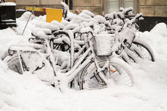 Bikes in snow. royalty free stock images
