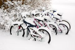 Bikes after the snowstorm. Stock Photo