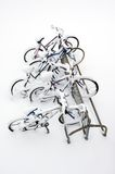 Bikes after the snowstorm. Royalty Free Stock Images