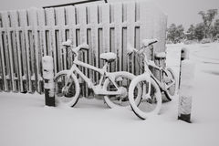 Bikes in a snowy day Stock Image