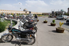 Bikes on the square Stock Photo