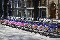 Bikes on the street of Oslo, Norway Royalty Free Stock Photo