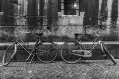 Bikes against a wall in Maastricht royalty free stock photos