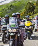 Bikes of Tour de France. Port de Pailheres,France- July 06 2013:Group of official bikes driving on the road to Col de Pailheres in Pyrenees Mountains, before the Stock Photos