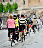 Bikes in traffic. Bike crowd in central Stockholm, Sweden Royalty Free Stock Images