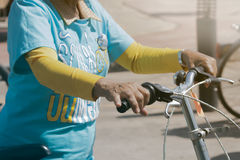 Bikes. Udon Thani, Thailand, August 16, 2015: bikes for a cycling event at the mother biking together in the streets. Energize the Queen Mother. An elderly woman Royalty Free Stock Photos