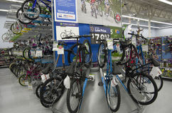 Bikes in Walmart store Stock Photography