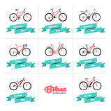 Bikes of the World. Set of various sport, city and electric bicycles in red and teal Stock Image