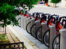 Bikeshare docking station Stock Images