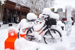 Biketown Stations and Snow Royalty Free Stock Photos