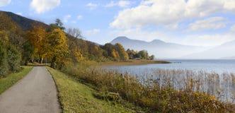 Bikeway around lake tegernsee, idyllic autumnal landscape Royalty Free Stock Photo
