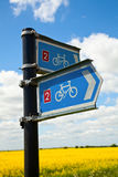 Bikeway directional sign Royalty Free Stock Image