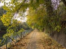 Bikeway längs Naviglioen som är stor på Ponte magentafärgade Vecchio Arkivfoto