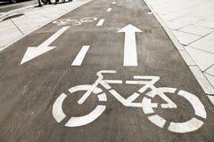 Bikeway on urban street Stock Image