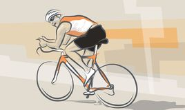 Biking. Cyclist on his bike, Illlustration in beige and orange colours Stock Image