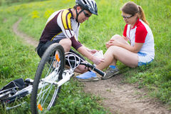 Biking accident Royalty Free Stock Photos