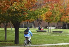 Biking Across Campus. Student biking across campus in autumn Stock Images