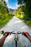 Biking in Alps Stock Photo