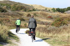 Biking in the Ameland dunes, the Netherlands Stock Photography