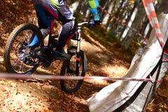 Biking as extreme and fun sport. Downhill biking. Biker jumps. Stock Photos