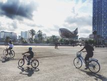 Biking in Barcelona Stock Afbeelding