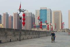 Biking on City Wall Xian. China stock image