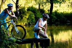 Biking couple Stock Photo