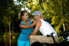 Biking couple Stock Images