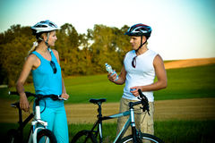 Biking couple Stock Image
