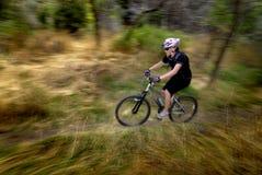 Biking da montanha da mulher nova Fotografia de Stock