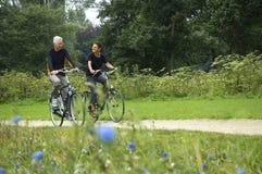 Biking degli anziani Fotografia Stock