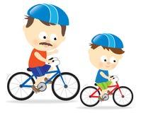 Biking del figlio e del padre illustrazione vettoriale