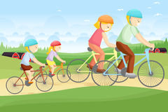 Biking della famiglia royalty illustrazione gratis