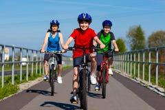 Biking della famiglia Immagine Stock