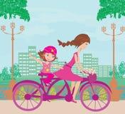 Biking della figlia e della madre royalty illustrazione gratis